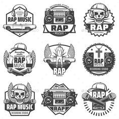 Buy Vintage Monochrome Rap Music Labels Set by VectorPot on GraphicRiver. Vintage monochrome rap music labels set with rapper microphones headphones car loudspeaker boombox cap skull chain ne. Vintage Logo, Vintage Fonts, Music Logo, Rap Music, Badges, Record Label Logo, Monochrome, Arte Do Hip Hop, Logos