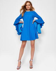 fbda7e41350 ASHLEYY Waterfall sleeved dress  TedToToe Bright Blue Dresses