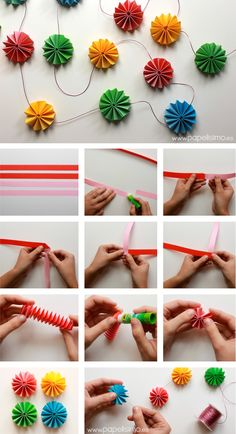 color crafts to do with paper - DIY - farbe arts to do . Crafts To Make, Crafts For Kids, Diy Crafts, Papier Diy, Flower Ornaments, Diy Garland, Origami Garland, Circle Garland, Paper Garlands