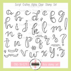 Calligraphy Discover Creative Worship: Script Outline Alpha Clear Stamp Set Creative Worship: Script Outline Alpha Clear Stamp Set - Sweet n Sassy Stamps Calligraphy Doodles, Doodle Fonts, Doodle Lettering, Creative Lettering, Doodle Art, Hand Lettering Alphabet, Graffiti Alphabet, Calligraphy Alphabet, Islamic Calligraphy
