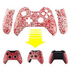 eXtremeRate Transparent Blood Red Bulge Design Convex Granule Effect Faceplate Front Housing Shell with Left Right Grip Panels Handles Side Rails Replacement Parts for Microsoft Xbox One Controller *** Check out this great product.(It is Amazon affiliate link) #sweet Xbox 360, Playstation, Xbox One Controller, Xbox One Games List, Xbox Games, Nintendo Ds, Wii U, Xbox One Bundle, Xbox One Black