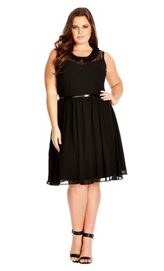 Plus Size Lacey Collar Dress - City Chic