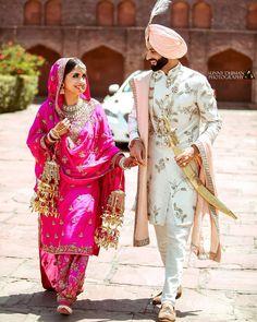 Bright Pink Wedding Dress by Harkiran Basra Sikh Wedding Dress, Punjabi Wedding Suit, Punjabi Wedding Couple, Couple Wedding Dress, Punjabi Bride, Wedding Suits, Wedding Couples, Punjabi Couple, Punjabi Suits