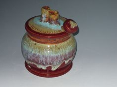 Stoneware Honey Pot Honey Jar in Barn Red by earthtoartceramics, $39.00