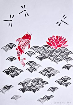 Collage Stempel mit Japan Muster Meer Wellen Koi Lillie Libellen schwarz rot / Carved Stamps with Japanese Pattern, black & red, carp, water lily, waves, dragon flies