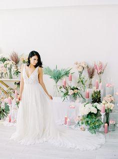 Dreamy Lace Wedding Dress with a Flowing Skirt https://heyweddinglady.com/bridal-romance-blissful-lavender-blush-pink/ #beauty #bride #wedding #weddings #weddingideas #floral #flowers #weddingflowers #floraldesign #purplewedding #pinkwedding #pastels #bridalportraits #bridalphotos #weddingdress #bridalfashiom