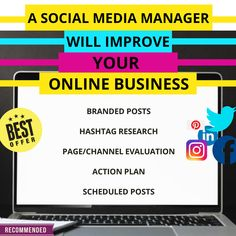 A social media manager will improve your online business in: branded post ,hashtag research ,page evaluation , action plan ,schedule post and more! Facebook Business, Online Business, Social Media Marketing, Digital Marketing, Business Pages, Business Branding, Schedule, Improve Yourself, Management