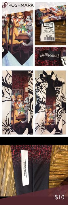 """Vintage Dogs Playing Poker Novelty Tie 👔 NWT 1994 funny dogs playing poker tie like the old velvet painting your uncle had hanging on the wall in the living room. Measures 58"""" long and 4"""" at widest.  New w/tag Vintage Accessories Ties"""