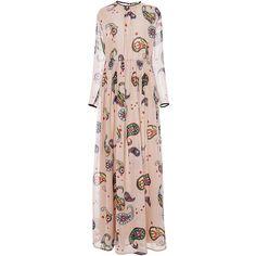MSGM Silk Paisley Printed Maxi Dress ($1,355) ❤ liked on Polyvore