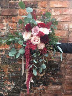 Blush and Marsala bridal bouquet - unstructured brides bouquet - deep red flowers - blush flowers - blush roses - red amaranthus - eucalyptus - deep red dahlia - quicksand rose - Faith rose - grey foliage