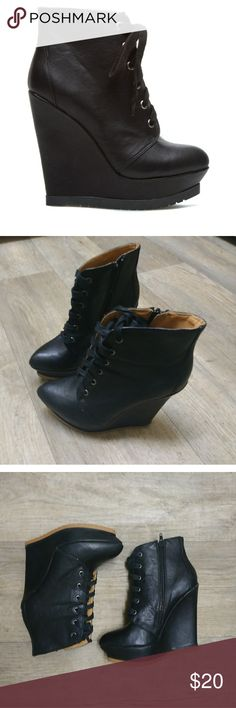 Shoe Dazzle size 6 black lace up wedge bootie Shoe Dazzle black wedges size 6. All but the first pic are of actual product. Shoe Dazzle Shoes Wedges