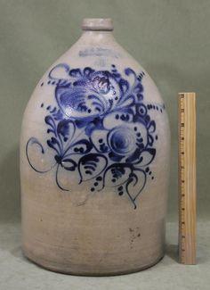 Large 4-Gallon Antique J. & E. NORTON Bennington VT Stoneware Jug w/ Blue Slip Excellent All Original Condition! Sold Ebay 830.00......~♥~