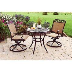 Outdoor Bistro Set 3 Piece Swivel Chair Sling Dining Patio Furniture Garden Deck #BHGFurniture