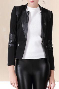 $64.99 Black Single Button Zipper Jacket