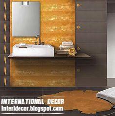 orange wall tiles fashions, latest orange wall tiles designs for modern bathroom