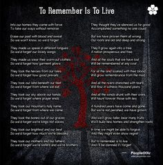 To Remember Is To Live!