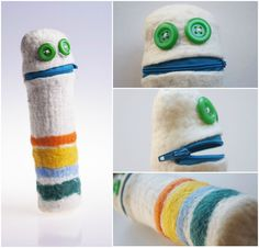 """felted PENCILCASE """"WORM"""" Technique: felted Material: wool, plastic zipper Cylindrical funny pencil case made of colored merino wool. Felt Material, Merino Wool, Pencil, Plastic, Zipper, Funny, Handmade, Color, Colour"""