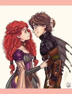 The Chief of Berk and the Queen of Dunbroch Ahhhh Hiccup and Merida! Disney Pixar, Disney Ships, Arte Disney, Disney And Dreamworks, Disney Magic, Disney Art, Jelsa, Disney And More, Disney Love