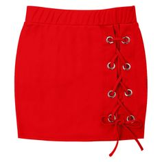 Short Lace-up Skirt ($13) ❤ liked on Polyvore featuring skirts, lace up front skirt, short skirt, red skirt, red short skirt and lace up skirt