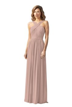 comes in a purple- A floor-length, cross neck halter crinkle chiffon gown with front slit. Affordable designer bridesmaid dresses to buy or rent at Vow To Be Chic.