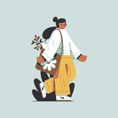 """A little drawing I made during lunch. Flat Design Illustration, People Illustration, Line Illustration, Character Illustration, Digital Illustration, Character Art, Character Design, Human Art, Princesas Disney"