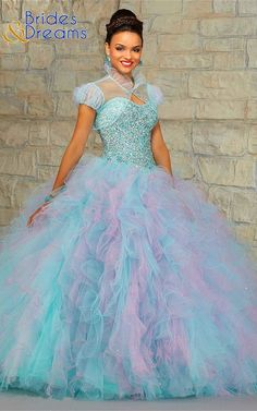 ed87b2e0788 Quinceanera Dress 89021 Jeweled Beaded Bodice on a Two-Tone Ruffled Tulle  Skirt