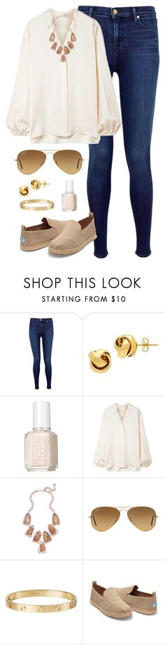 """Untitled #198"" by teacupunicorn ❤ liked on Polyvore featuring J Brand, Lord & Taylor, Essie, The Row, Kendra Scott, Ray-Ban, Cartier and TOMS"