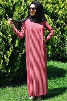 MarkaÂlâ 2417 PİLELİ UZUN ELBİSE tesettür giyim kombinleri #tesettür #kombin #tunik #pantolon #modelleri