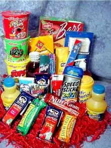 Rise and Shine Care Package - This Good Morning care package makes the day start a little easier with a selection of breakfast snacks, cereals, juice and a host of personal care items all packed in a box