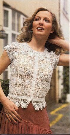 womens lacy crochet motif blouse crochet pattern lacy by Hobohooks Gilet Crochet, Crochet Cardigan, Crochet Motif, Crochet Top, Vintage Tops, Vintage Ladies, Vintage Crochet Patterns, Thread Crochet, Crochet Fashion