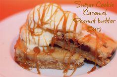 Sugar Cookie Caramel Peanut Butter Bars