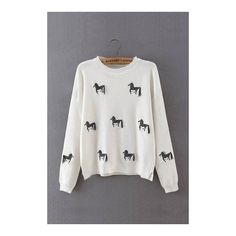 White Zebra Emboridery Jumper with Tassel - US$23.95 -YOINS (€32) ❤ liked on Polyvore featuring tops and sweaters