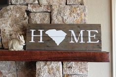 South Carolina HOME - Reclaimed Wood Sign, Gamecocks, Bulldogs, University, Rustic, Silhouette Map, Clemson, housewarming, art,