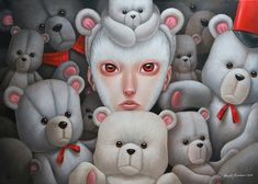 The works of Italian artist Paolo Pedroni capture a whimsical and dark world populated by child-like maidens with an aristocratic flair. Though his art is often compared to a cross between Pop Surr… Japanese Gifts, Bear Illustration, Bear Art, Creepy Cute, Pop Surrealism, Sketch Design, Surreal Art, Types Of Art, Love Art