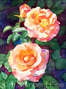 "Rose Glamour by Kim Stenberg Watercolor ~ 8"" x 6"""