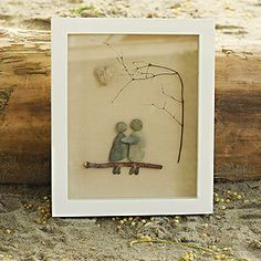By Salt and Pebbles. Couple on a bench. www.saltandpebbles.com  #pebbleart