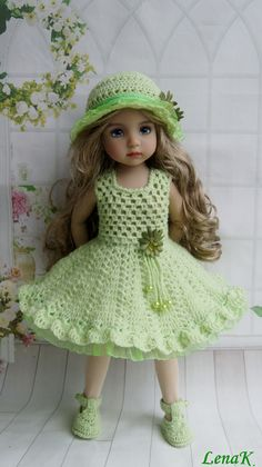 Knitting Dolls Clothes, Crochet Doll Clothes, Knitted Dolls, Crochet Doll Dress, Crochet Doll Pattern, American Girl Crochet, Baby Dress Patterns, American Doll Clothes, Doll Costume
