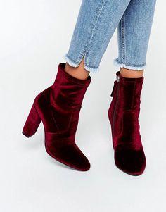 Image 1 ofSteve Madden Editt Velvet Sock Heeled Ankle Boots
