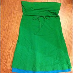 Victoria Secret dress Cute tube top dress for summer.  Shelf bra, about knee length and I'm 5'5.  Cotton.  A fun Kelly green with a blue layer that peeps.  Perfect for the warm weather!! Victoria's Secret Dresses Strapless