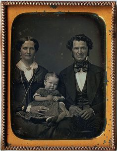 1/4th-Plate Daguerreotype of W. K. Brown. His Wife, and Baby Minnie Brown, circa 1852