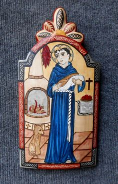 San Pasqual Retablo Patron of the Kitchen! New Mexican, Mexican Folk Art, Baby Donkey, New Mexico Style, Colonial Art, Christian Artwork, Mexico Art, Spanish Art, Ap Art