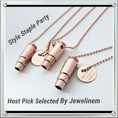 New Rose Gold Fighting For Hunger Bullet Necklace Price $34. This negative symbol is being used for something very positive. For every necklace that is purchased seven meals are provided for children in need. Beautiful rose gold tone made in the United States. The chain is about 30 inches. Fashion that feeds. HalfUnited Jewelry Necklaces