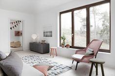 huge framed wood windows, neutral + pinks