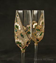 Verde boda vasos copas de Champagne flautas de champán verde