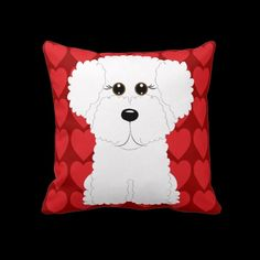 Cute Bichon Frise and Hearts Dog Art Throw Pillow