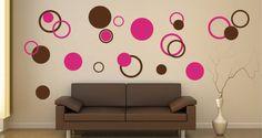 Bubbly Circles vinyl wall stencils,