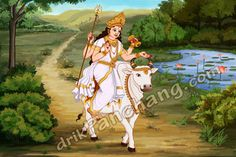According to Hindu mythologies, the Goddess Shailputri at the age of sixteen was extremely beautiful and was blessed with fair complexion. Due to her extreme fair complexion she was known as Goddess Mahagauri. Shiva, Fair Complexion, Durga Goddess, Hindu Art, Sacred Art, Gods And Goddesses, Hinduism, Indian Art, Mythology