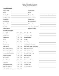 wedding dj checklist | Music _ Memories DJ Service Wedding Planner Worksheet Yes No Yes