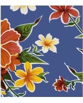 Oilcloth Hibiscus Blue Tablecloth 84; HB84