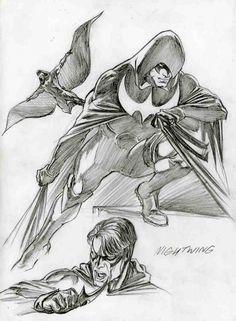 Original Comic Art titled Alex Ross-NightWing, located in Sal's AlEX Comic Art Gallery Comic Book Superheroes, Superhero Characters, Dc Comics Characters, Comic Books Art, Comic Art, Arte Dc Comics, Marvel Comics, Ms Marvel, Captain Marvel